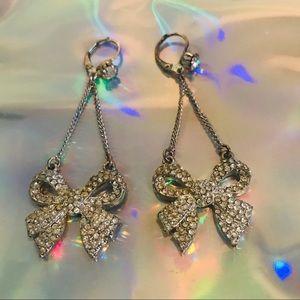 Long bow crystal rhinestone earring Betsey Johnson